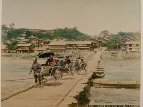 Япония 19 век рикша мост