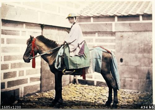 Япония 19 век женщина на лошади